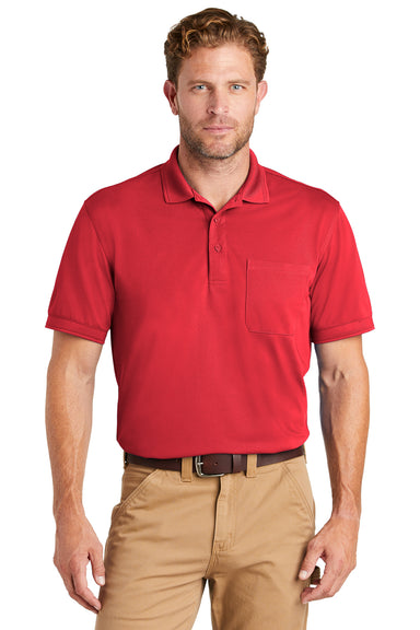 CornerStone CS4020P Mens Industrial Moisture Wicking Short Sleeve Polo Shirt w/ Pocket Red Front