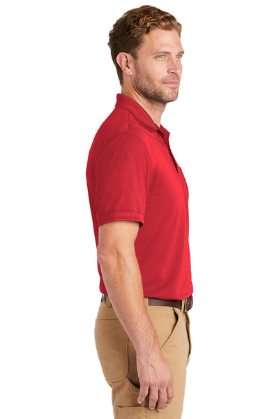 CornerStone CS4020P Mens Industrial Moisture Wicking Short Sleeve Polo Shirt w/ Pocket Red Side
