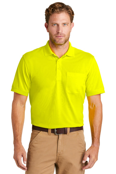 CornerStone CS4020P Mens Industrial Moisture Wicking Short Sleeve Polo Shirt w/ Pocket Safety Yellow Front