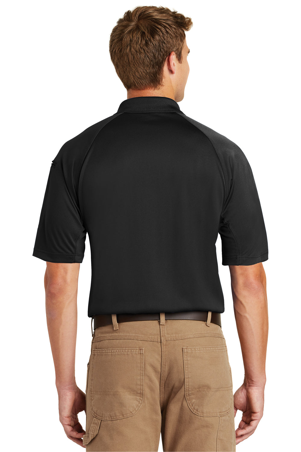 CornerStone CS410 Mens Select Tactical Moisture Wicking Short Sleeve Polo Shirt Black Back