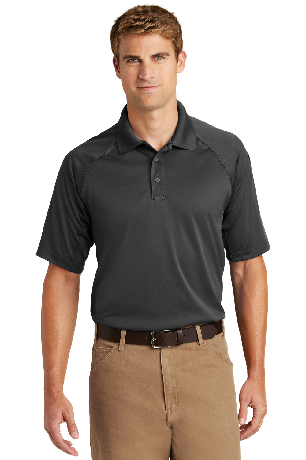 CornerStone CS410 Mens Select Tactical Moisture Wicking Short Sleeve Polo Shirt Charcoal Grey Front
