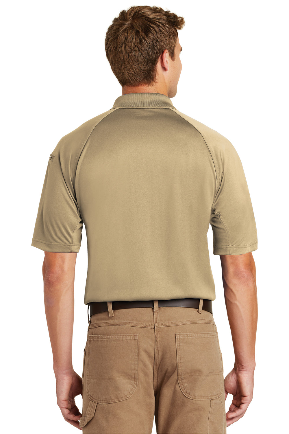 CornerStone CS410 Mens Select Tactical Moisture Wicking Short Sleeve Polo Shirt Tan Brown Back