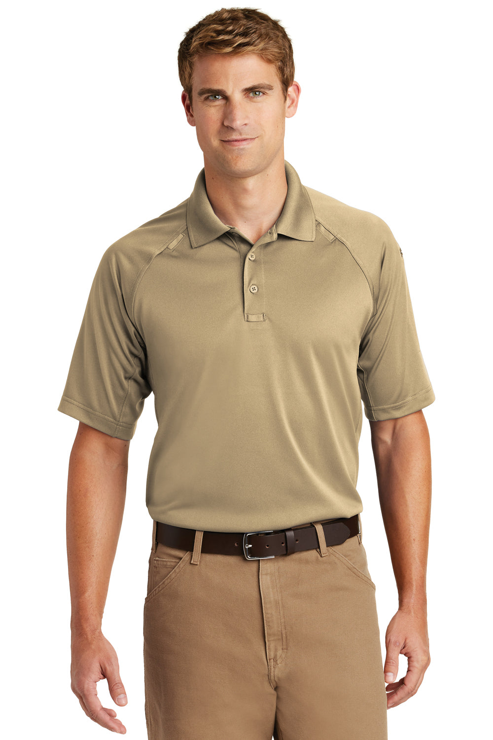 CornerStone CS410 Mens Select Tactical Moisture Wicking Short Sleeve Polo Shirt Tan Brown Front