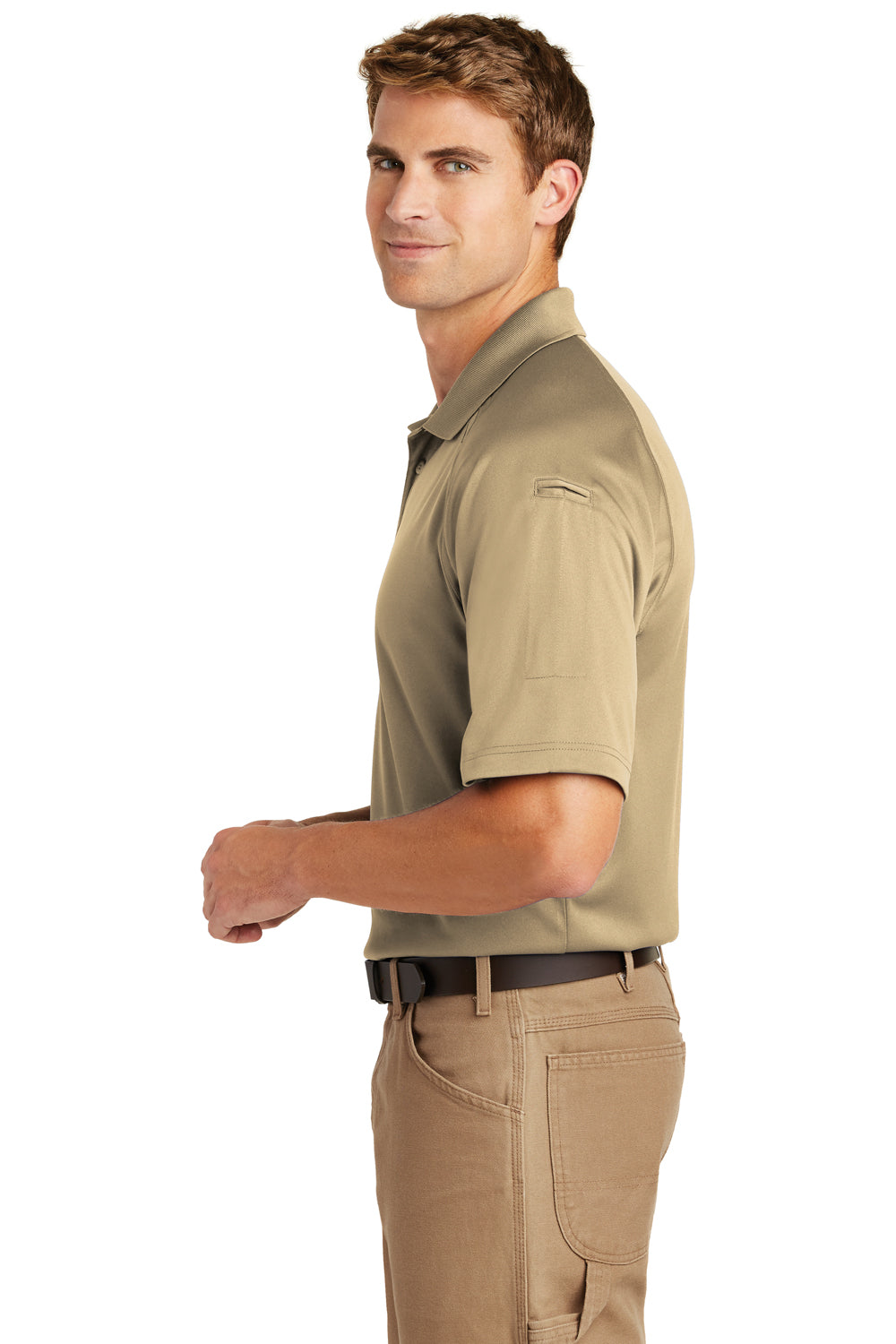 CornerStone CS410 Mens Select Tactical Moisture Wicking Short Sleeve Polo Shirt Tan Brown Side