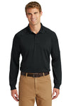 CornerStone CS410LS Mens Select Tactical Moisture Wicking Long Sleeve Polo Shirt Black Front