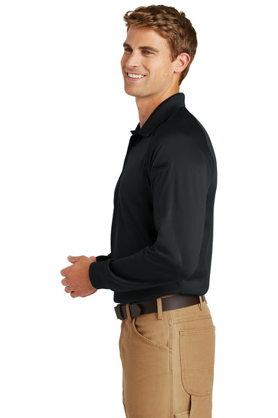 CornerStone CS410LS Mens Select Tactical Moisture Wicking Long Sleeve Polo Shirt Black Side