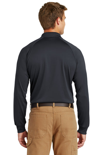 CornerStone CS410LS Mens Select Tactical Moisture Wicking Long Sleeve Polo Shirt Charcoal Grey Back