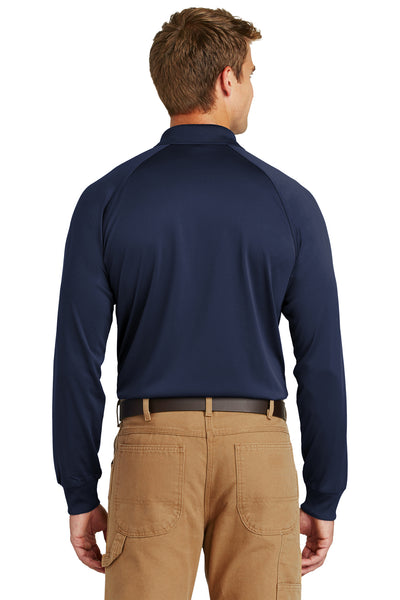 CornerStone CS410LS Mens Select Tactical Moisture Wicking Long Sleeve Polo Shirt Navy Blue Back