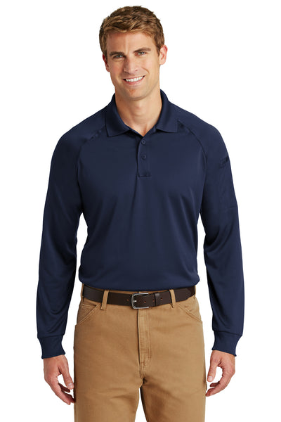 CornerStone CS410LS Mens Select Tactical Moisture Wicking Long Sleeve Polo Shirt Navy Blue Front