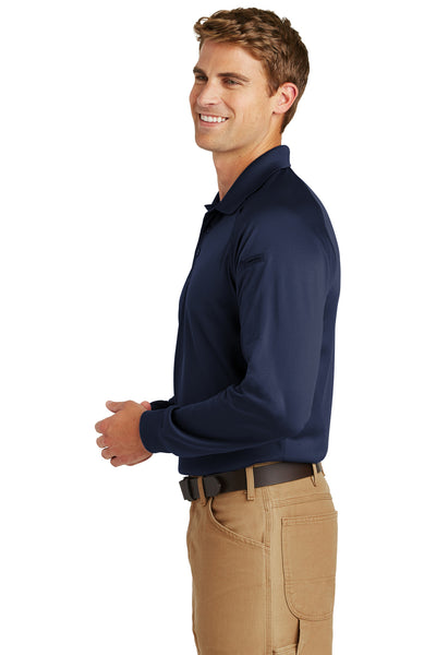 CornerStone CS410LS Mens Select Tactical Moisture Wicking Long Sleeve Polo Shirt Navy Blue Side