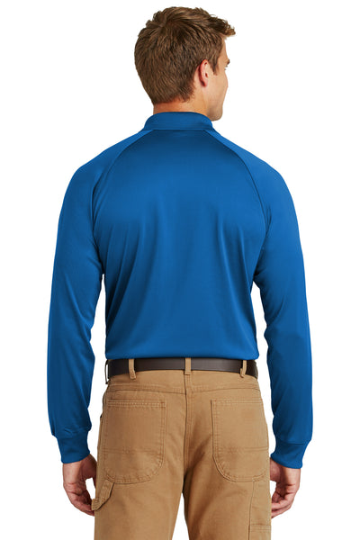 CornerStone CS410LS Mens Select Tactical Moisture Wicking Long Sleeve Polo Shirt Royal Blue Back