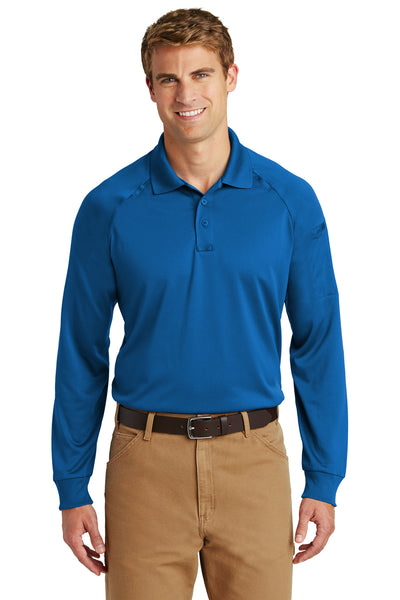 CornerStone CS410LS Mens Select Tactical Moisture Wicking Long Sleeve Polo Shirt Royal Blue Front