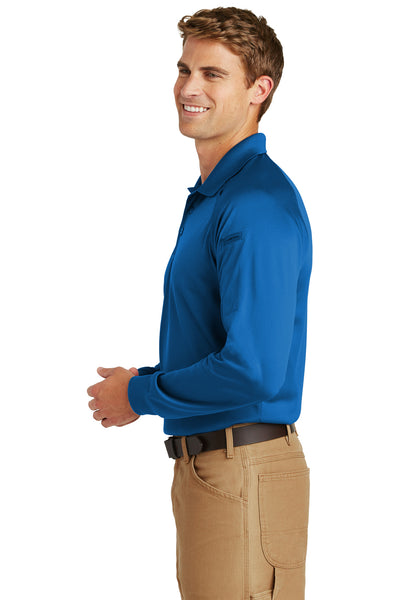 CornerStone CS410LS Mens Select Tactical Moisture Wicking Long Sleeve Polo Shirt Royal Blue Side