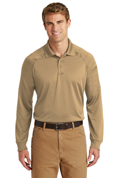 CornerStone CS410LS Mens Select Tactical Moisture Wicking Long Sleeve Polo Shirt Tan Brown Front