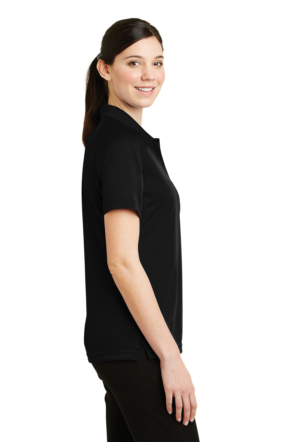 CornerStone CS411 Womens Select Tactical Moisture Wicking Short Sleeve Polo Shirt Black Side