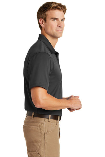 CornerStone CS412 Mens Select Moisture Wicking Short Sleeve Polo Shirt Charcoal Grey Side