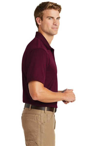CornerStone CS412 Mens Select Moisture Wicking Short Sleeve Polo Shirt Maroon Side