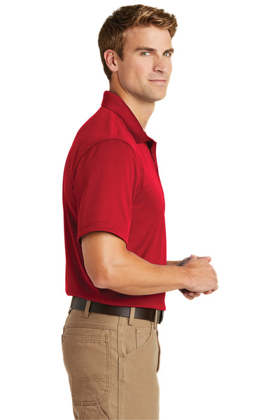 CornerStone CS412 Mens Select Moisture Wicking Short Sleeve Polo Shirt Red Side