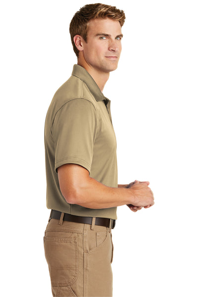 CornerStone CS412 Mens Select Moisture Wicking Short Sleeve Polo Shirt Tan Brown Side