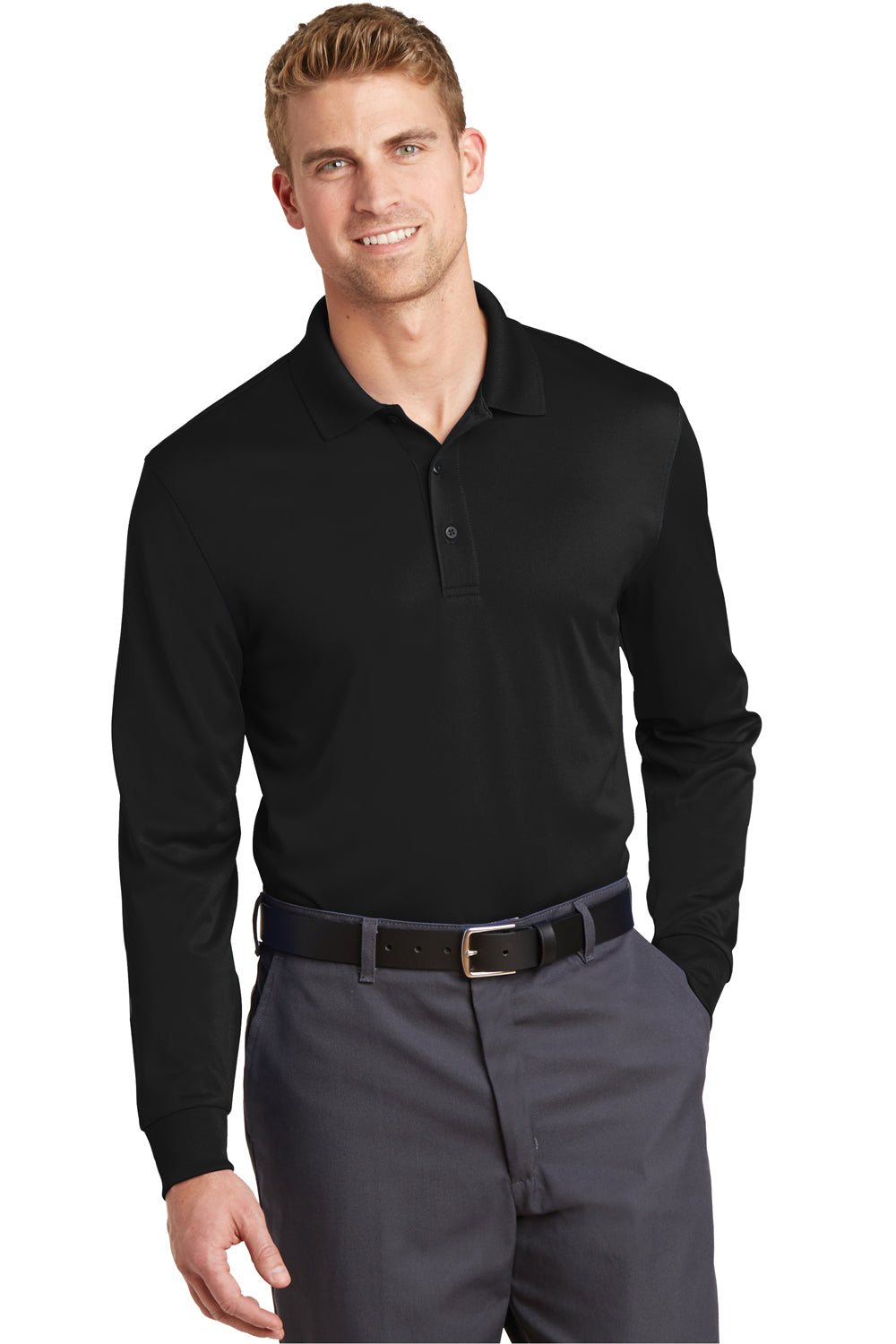 CornerStone CS412LS Mens Select Moisture Wicking Long Sleeve Polo Shirt Black Front