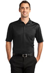 CornerStone CS412P Mens Select Moisture Wicking Short Sleeve Polo Shirt w/ Pocket Black Front