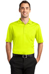 CornerStone CS412P Mens Select Moisture Wicking Short Sleeve Polo Shirt w/ Pocket Safety Yellow Front
