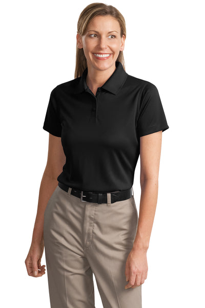 CornerStone CS413 Womens Select Moisture Wicking Short Sleeve Polo Shirt Black Front