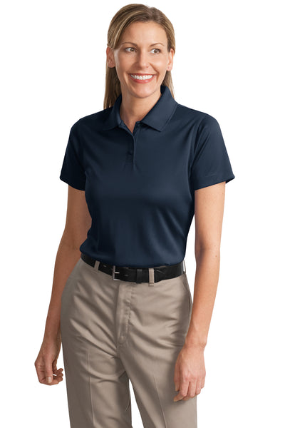 CornerStone CS413 Womens Select Moisture Wicking Short Sleeve Polo Shirt Navy Blue Front
