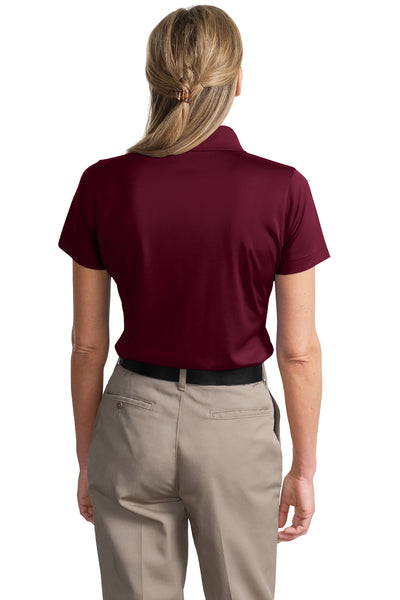 CornerStone CS413 Womens Select Moisture Wicking Short Sleeve Polo Shirt Maroon Back