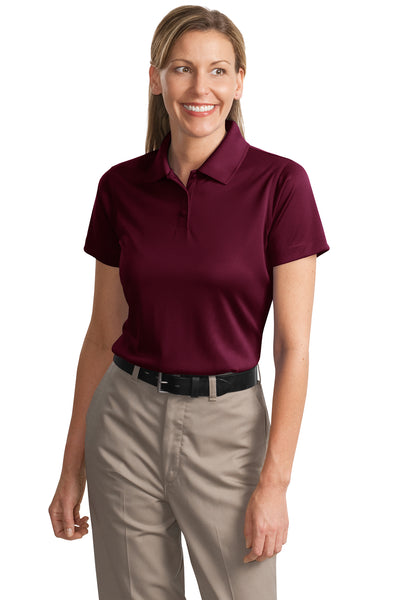 CornerStone CS413 Womens Select Moisture Wicking Short Sleeve Polo Shirt Maroon Front