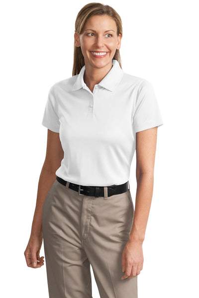 CornerStone CS413 Womens Select Moisture Wicking Short Sleeve Polo Shirt White Front