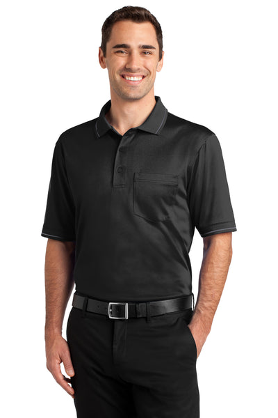 CornerStone CS415 Mens Select Moisture Wicking Short Sleeve Polo Shirt w/ Pocket Black Front