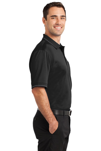 CornerStone CS415 Mens Select Moisture Wicking Short Sleeve Polo Shirt w/ Pocket Black Side