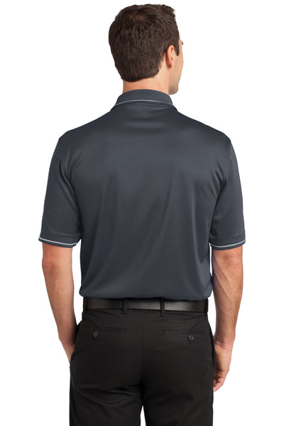 CornerStone CS415 Mens Select Moisture Wicking Short Sleeve Polo Shirt w/ Pocket Charcoal Grey Back