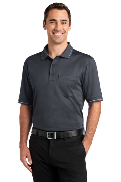 CornerStone CS415 Mens Select Moisture Wicking Short Sleeve Polo Shirt w/ Pocket Charcoal Grey Front