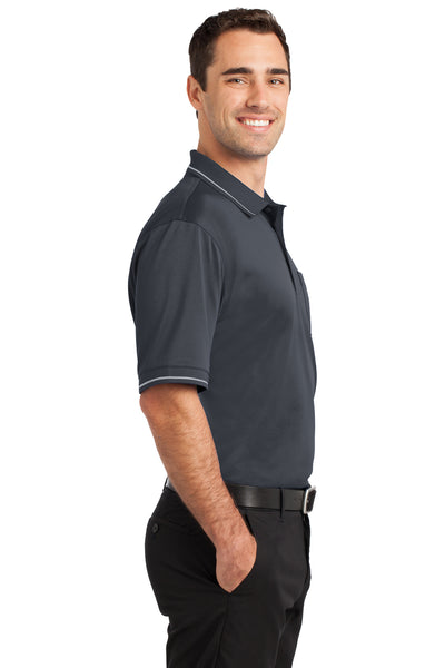 CornerStone CS415 Mens Select Moisture Wicking Short Sleeve Polo Shirt w/ Pocket Charcoal Grey Side