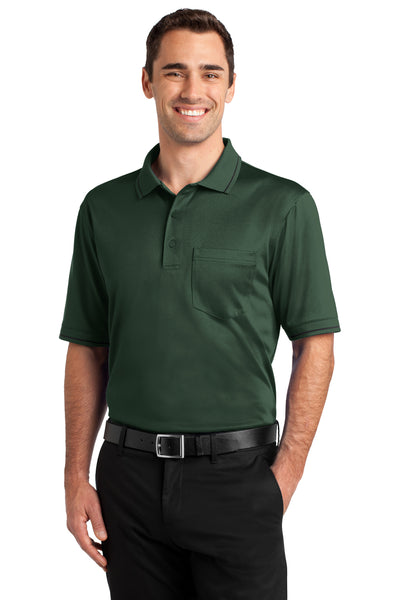 CornerStone CS415 Mens Select Moisture Wicking Short Sleeve Polo Shirt w/ Pocket Dark Green Front