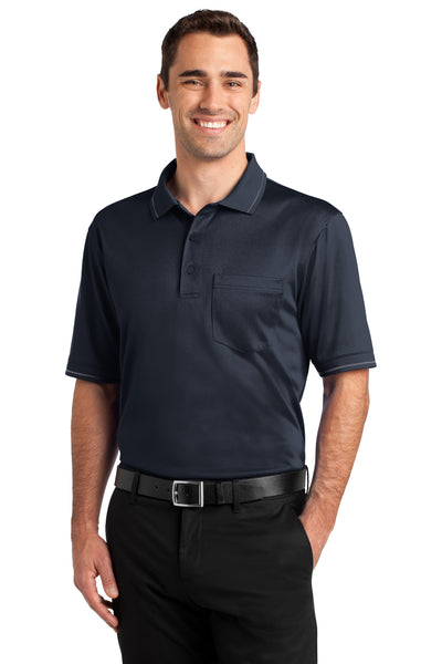 CornerStone CS415 Mens Select Moisture Wicking Short Sleeve Polo Shirt w/ Pocket Navy Blue Front