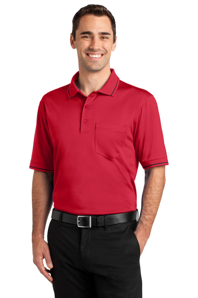 CornerStone CS415 Mens Select Moisture Wicking Short Sleeve Polo Shirt w/ Pocket Red Front