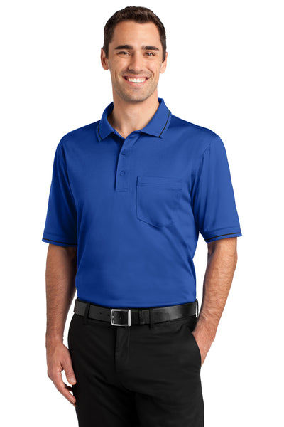 CornerStone CS415 Mens Select Moisture Wicking Short Sleeve Polo Shirt w/ Pocket Royal Blue Front