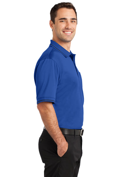 CornerStone CS415 Mens Select Moisture Wicking Short Sleeve Polo Shirt w/ Pocket Royal Blue Side