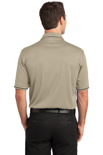 CornerStone CS415 Mens Select Moisture Wicking Short Sleeve Polo Shirt w/ Pocket Tan Brown Back