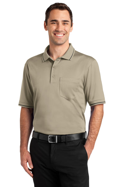 CornerStone CS415 Mens Select Moisture Wicking Short Sleeve Polo Shirt w/ Pocket Tan Brown Front