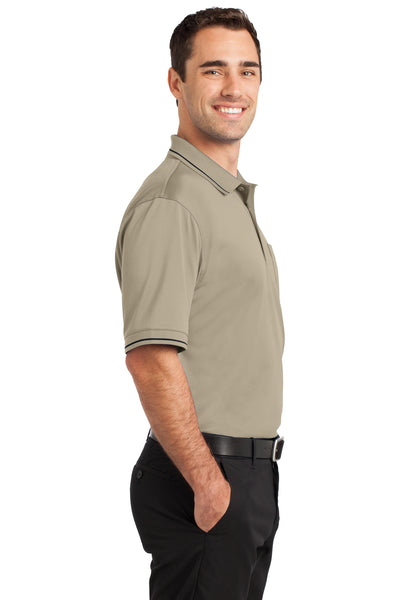 CornerStone CS415 Mens Select Moisture Wicking Short Sleeve Polo Shirt w/ Pocket Tan Brown Side