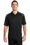 CornerStone CS416 Mens Select Moisture Wicking Short Sleeve Polo Shirt w/ Pocket Black/Charcoal Grey Front