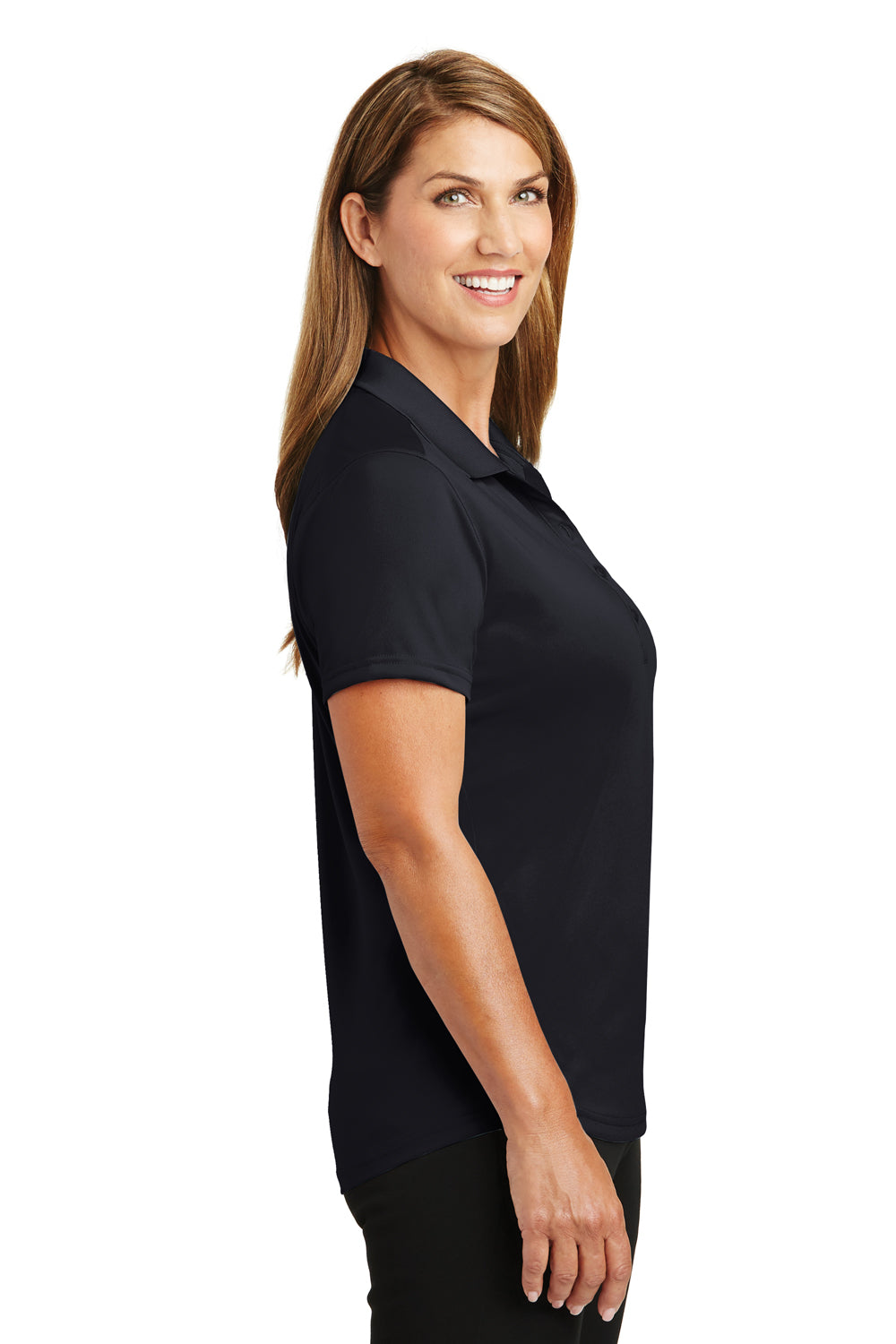 CornerStone CS419 Womens Select Moisture Wicking Short Sleeve Polo Shirt Navy Blue Side