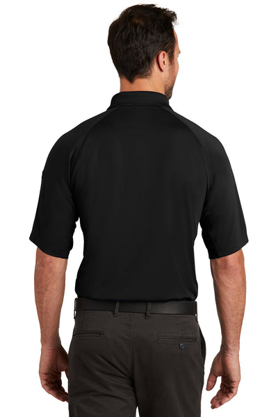 CornerStone CS420 Mens Select Tactical Moisture Wicking Short Sleeve Polo Shirt Black Back