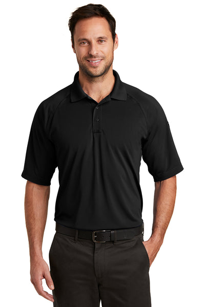 CornerStone CS420 Mens Select Tactical Moisture Wicking Short Sleeve Polo Shirt Black Front
