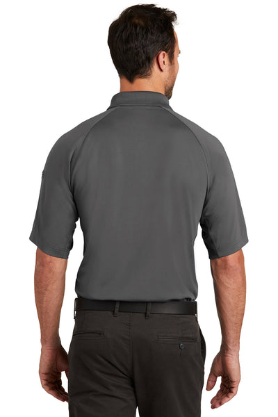 CornerStone CS420 Mens Select Tactical Moisture Wicking Short Sleeve Polo Shirt Charcoal Grey Back