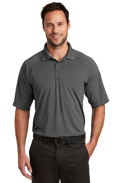 CornerStone CS420 Mens Select Tactical Moisture Wicking Short Sleeve Polo Shirt Charcoal Grey Front